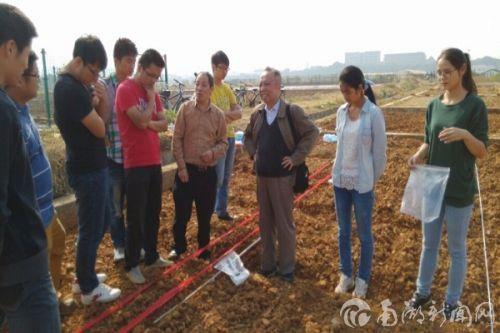 王运华教授在试验基地传授学生经验