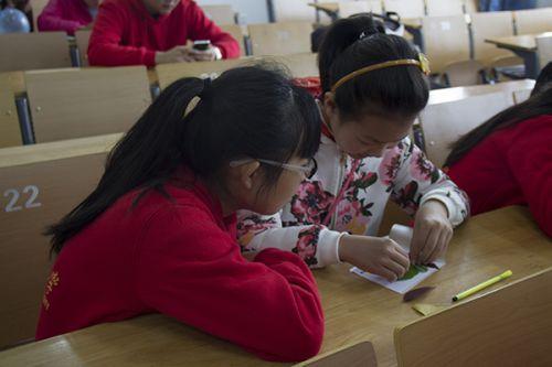 小朋友和志愿者一起制作标本