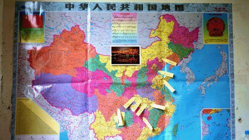 在地图上标上支教队员的家乡