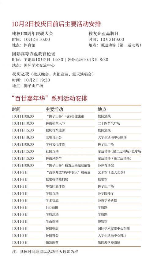 华中农业大学120周年校庆公告(第二号)