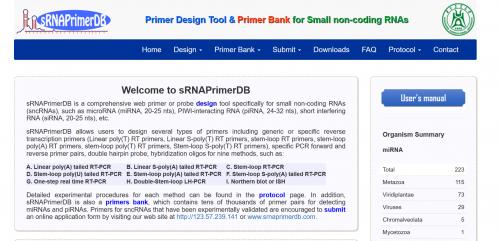图1. sRNAPrimerDB网站用户界面
