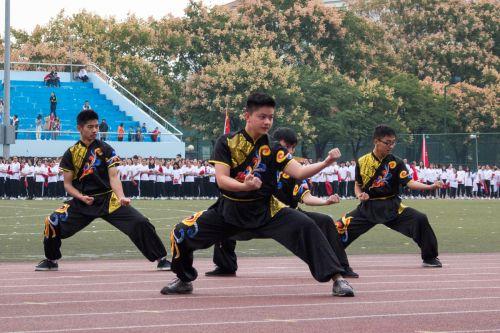 运动会开幕式上的武术表演 学通社记者【骆嘉】摄