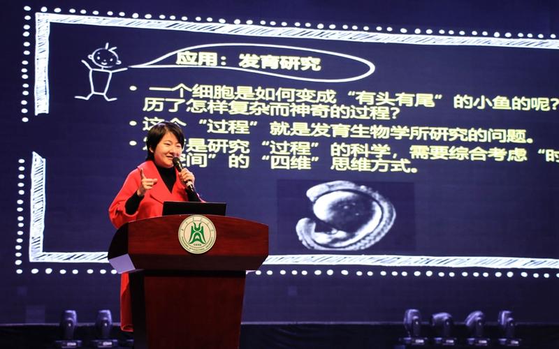陈振夏教授作有关斑马鱼的报告 【学通社记者 成睿婷 摄】
