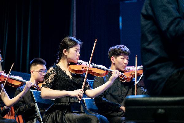 认真演奏的小提琴手【学通社记者 罗腾 摄】