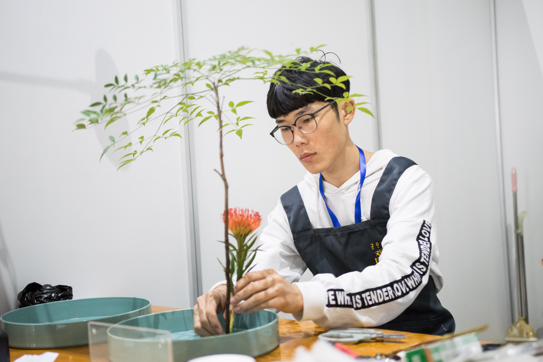 参赛选手在插花过程中【学通社记者 欧静 摄】-1