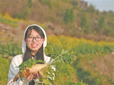 华中农业大学学生刘思源在家乡帮助乡亲拔萝卜。