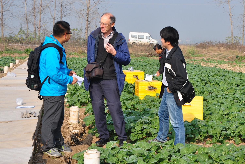 与专家研究生一起讨论田间试验