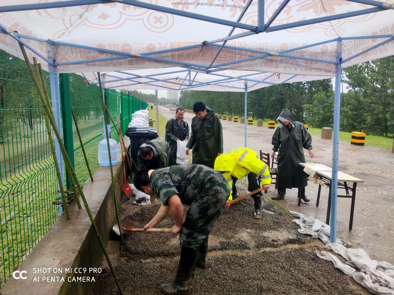 建安部防汛突击队员们在平整场地