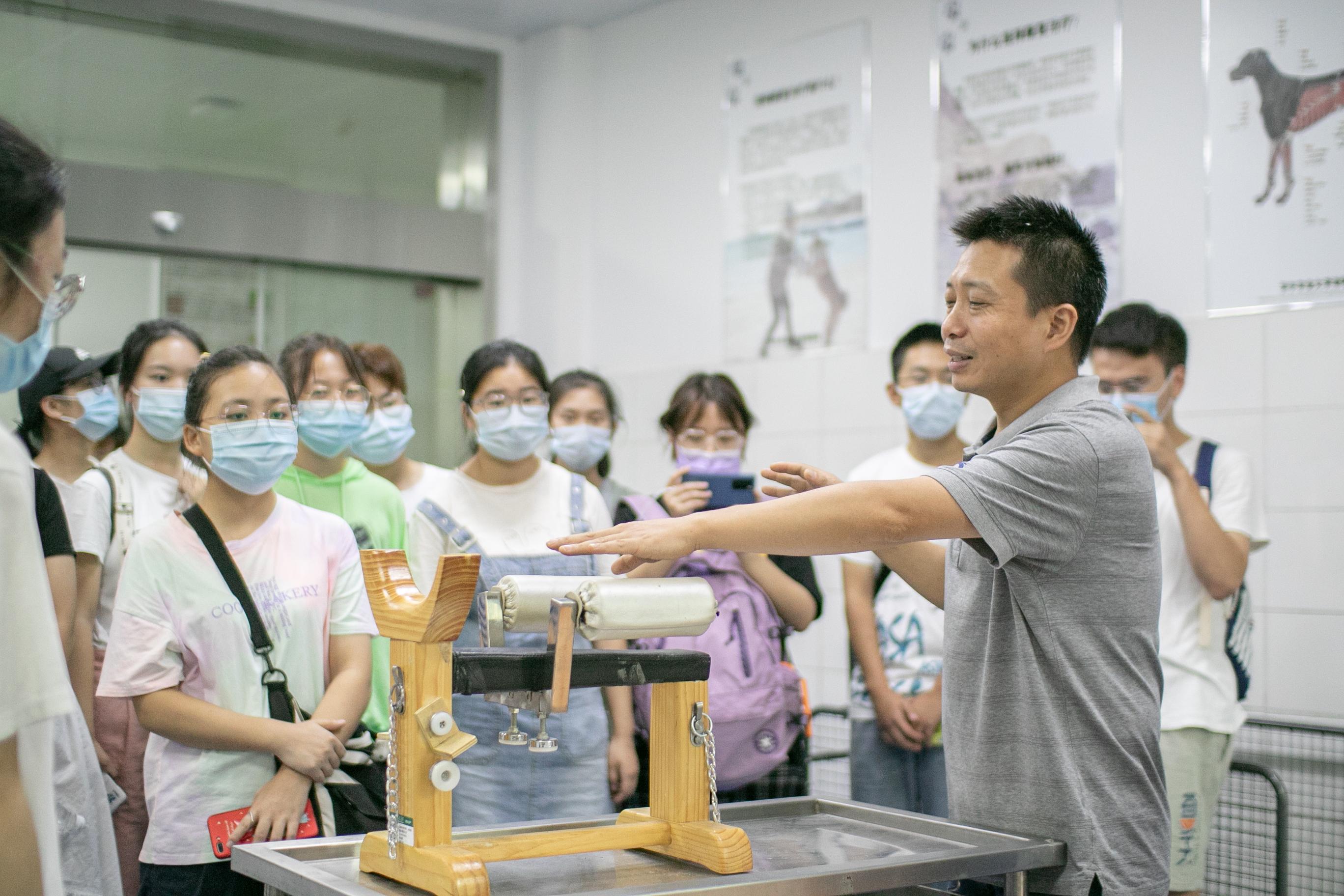 老师为同学讲解和宠物康复有关的设备(学通社记者 李靖威 摄)