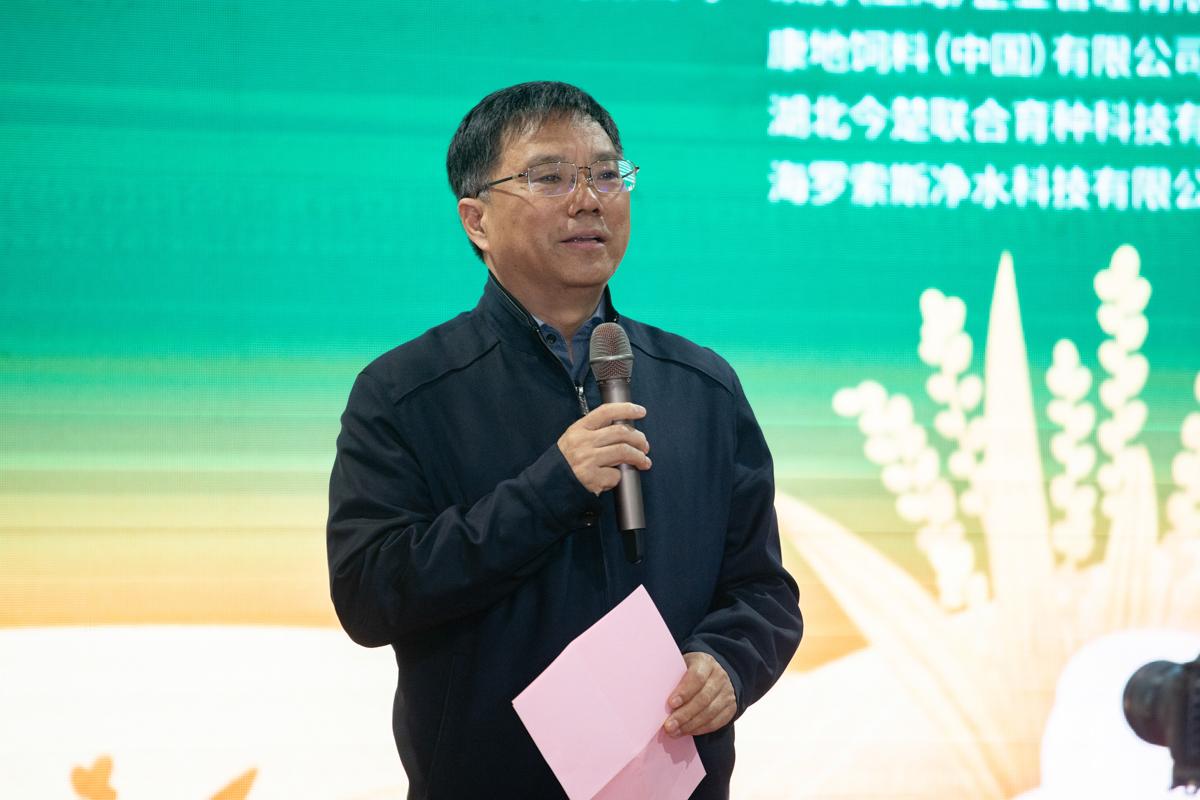 全国畜牧总站党委书记时建忠致辞(学通社记者 刘博文 摄)