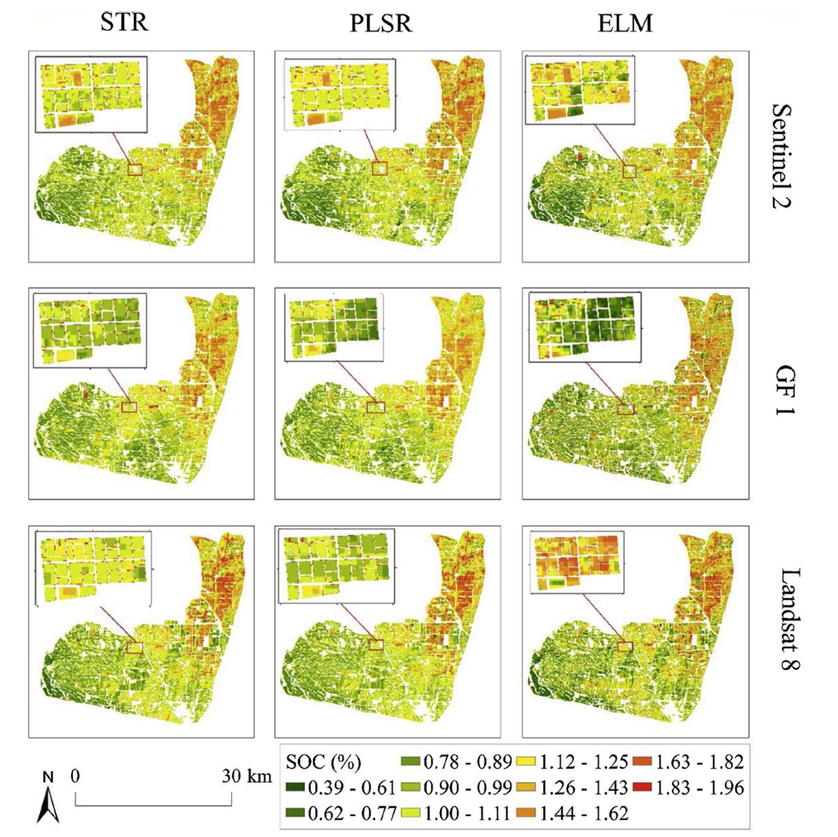 图1 基于时序遥感影像的不同农田尺度的土壤有机碳制图