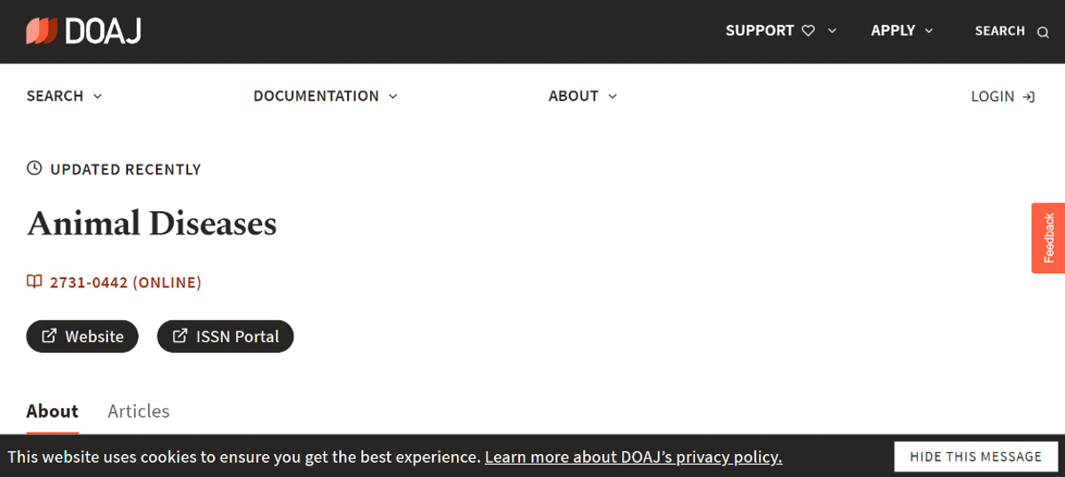 DOAJ数据库的期刊网页